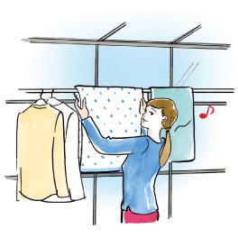 周りの人目もお天気も花粉やホコリも気にせず洗濯を干す画像
