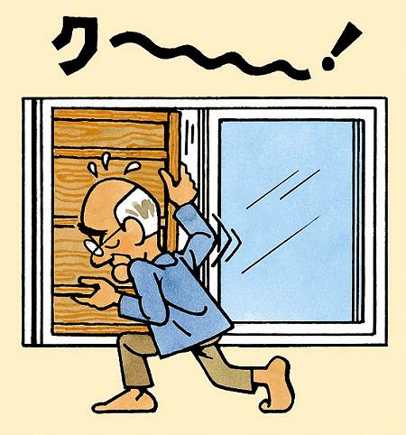 ガタツキ、古びて開かない雨戸