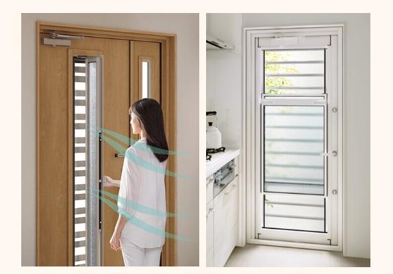 玄関も台所も採風タイプのドアで快適に
