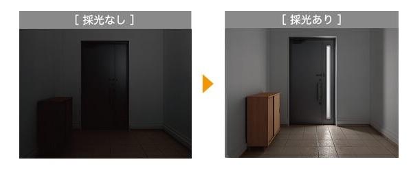 玄関袖や子扉で採光