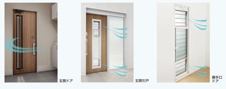 閉めたまま換気ができる玄関ドア・勝手口ドア