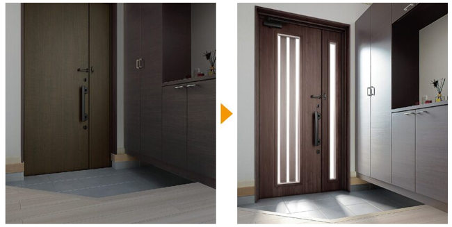 採光できる明るい玄関ドアへリフォーム