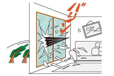 台風シーズンも安心 ! 窓にシャッターがある暮らし