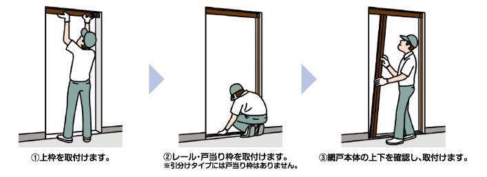 玄関網戸施工イメージ