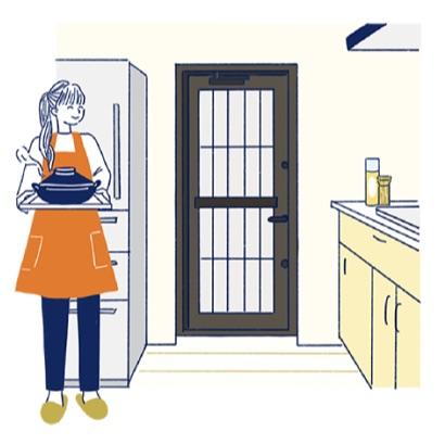 勝手口ドア交換リフォームで快適なキッチン